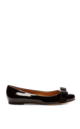 Varina Patent Leather Flats With Bow Detail by SALVATORE FERRAGAMO Now Available on Moda Operandi