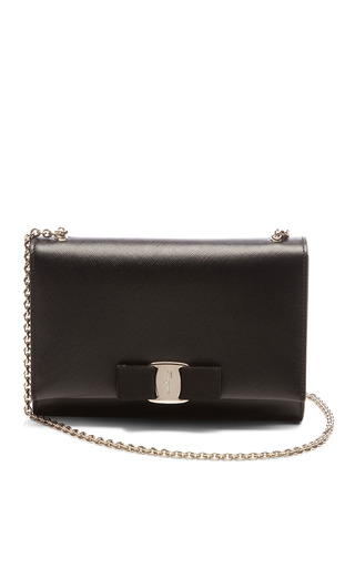 Medium salvatore ferragamo black miss vara bow clip clutch with chain handle