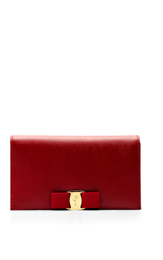 Medium salvatore ferragamo red miss vara bow clip leather clutch