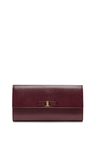 Medium salvatore ferragamo red long leather wallet with bow detail