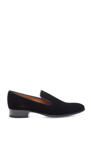 Medium salvatore ferragamo black rimella velvet slippers