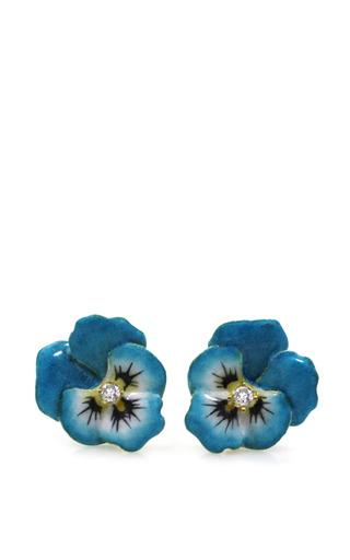 Medium m de phocas turquoise pansy stud earrings