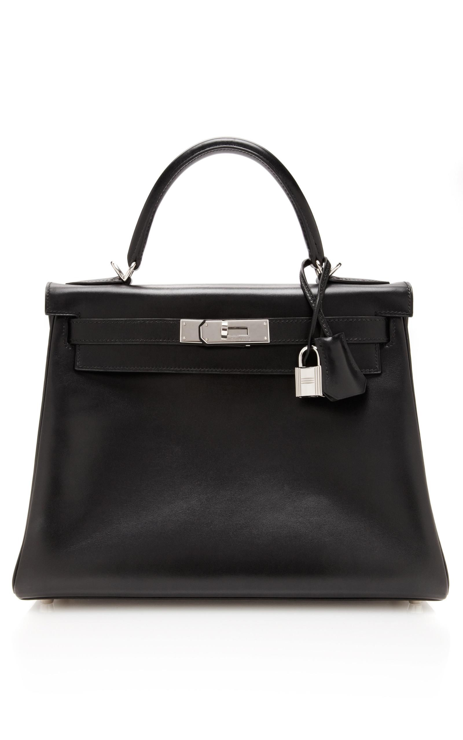 611704ac1dd1 Hermes 28Cm Black Calf Box Leather Retourne Kelly by Hermes Vintage ...
