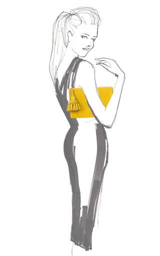 Georgiana Clutch In Yellow Velvet Calf by ANYA HINDMARCH for Preorder on Moda Operandi