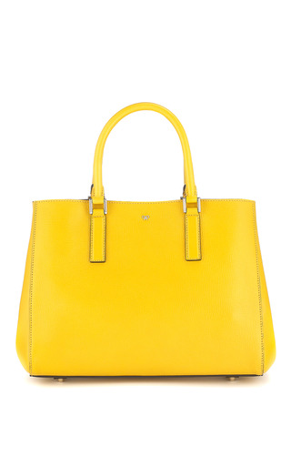 Medium anya hindmarch navy ebury small featherweight in mustard and navy capra double