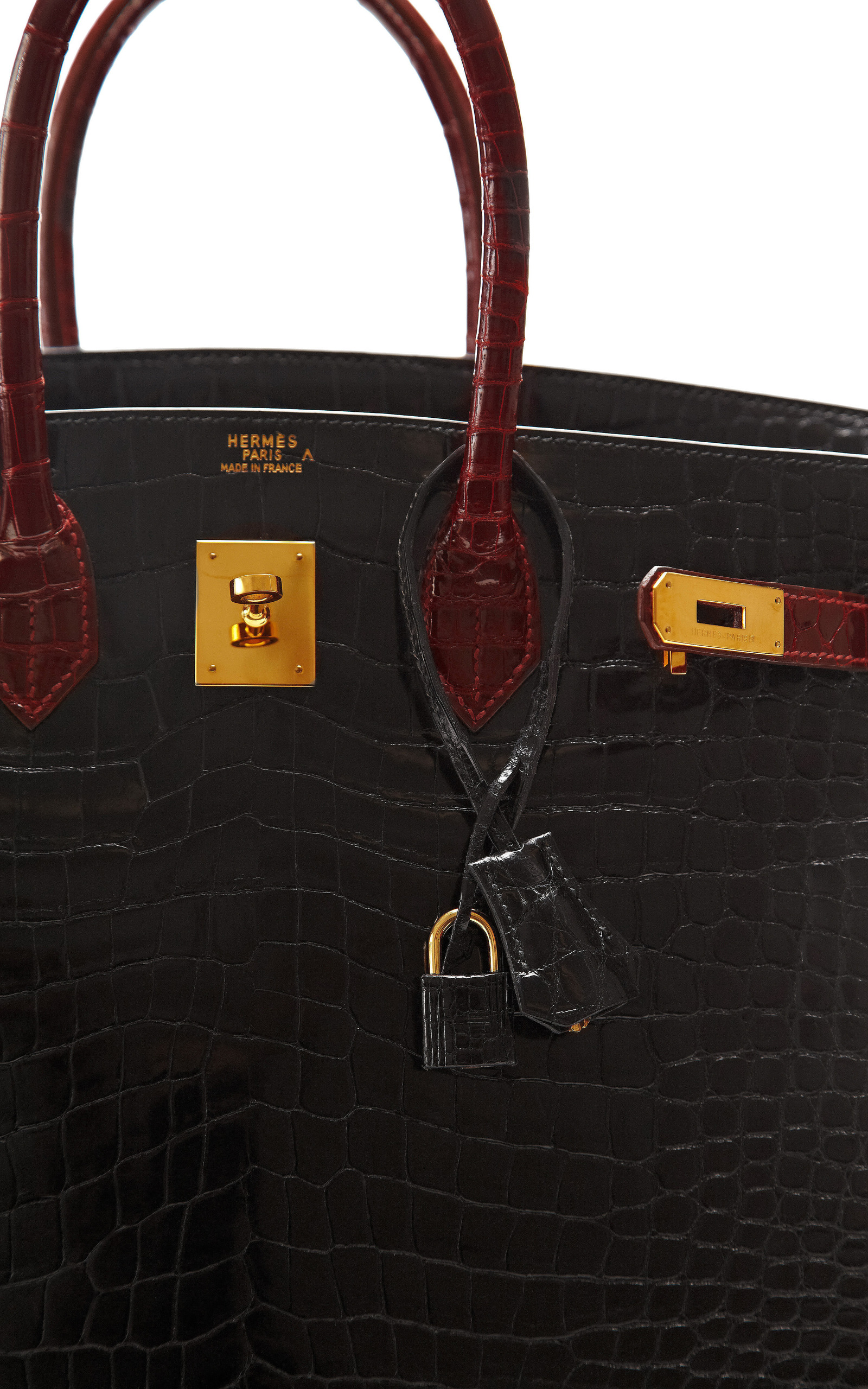 2a268949fa0 Hermes 35Cm Shiny Black Rouge H Two-Tone Porosus Crocodile Birkin ...