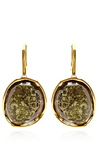 One Of A Kind Blue Geode With Diamond Hook Earrings by KIMBERLY MCDONALD for Preorder on Moda Operandi