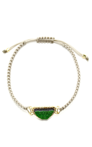 One Of A Kind Uvaronite Garnet And Diamond On Dark Grey Macrame Bracelet by KIMBERLY MCDONALD for Preorder on Moda Operandi