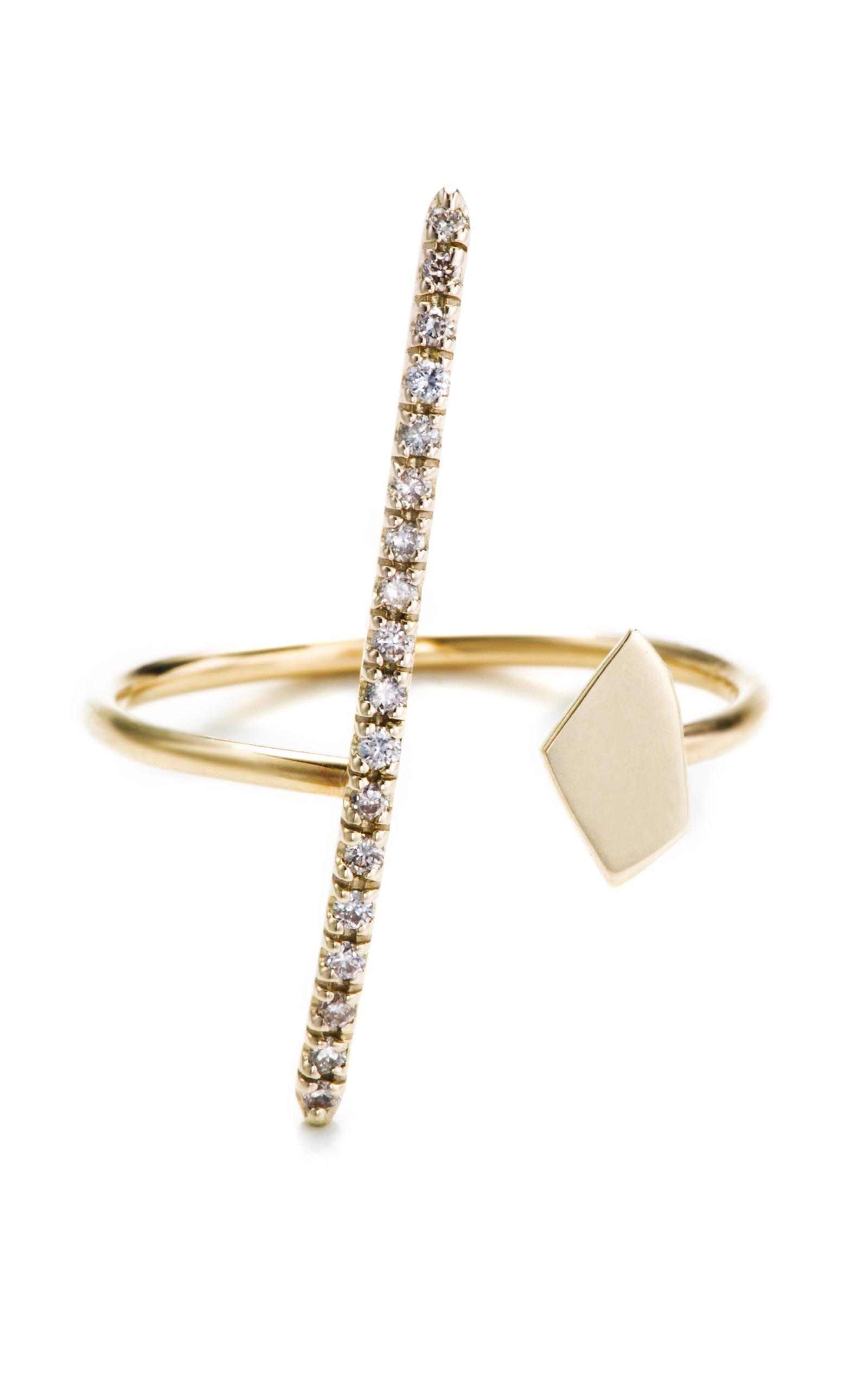 Hirotaka Gossamer Long Diamond Bar Ring 8PEnR