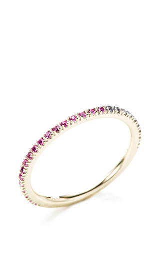 M.O Exclusive Version: Gossamer Light Gray Diamond And Pink Sapphire Ring by HIROTAKA for Preorder on Moda Operandi
