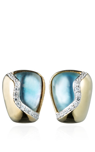 Medium kara ross blue blue topaz petra contour stud earrings