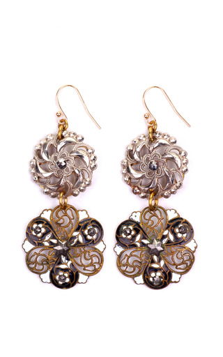 Medium lulu frost brown 100 year earrings featuring vintage parts from 1860 1960 10