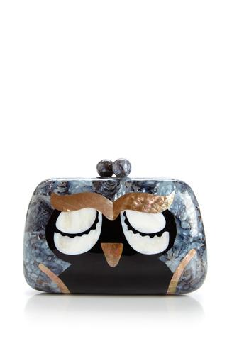 Medium serpui marie black owl minaudiere in mother of pearl