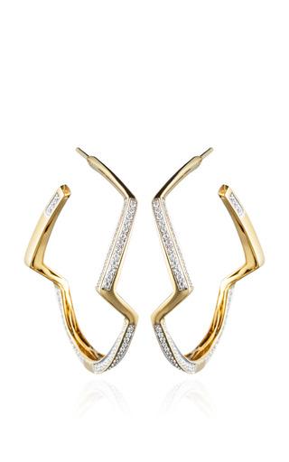 Medium kara ross gold petra contour hoop earrings