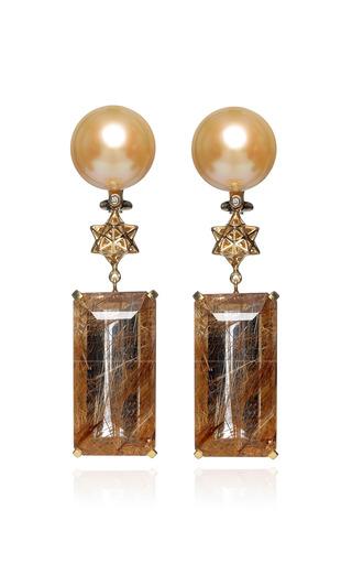 Medium bibi van der velden gold art deco earrings