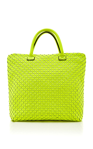 Medium leghila yellow woven neoprene twist bag 2