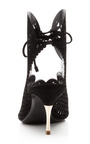 Black Laser Cut Platino Sandal by NICHOLAS KIRKWOOD for Preorder on Moda Operandi