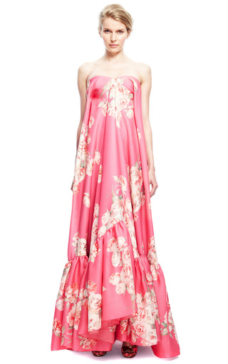 Strapless Floral Gown by DELPOZO for Preorder on Moda Operandi