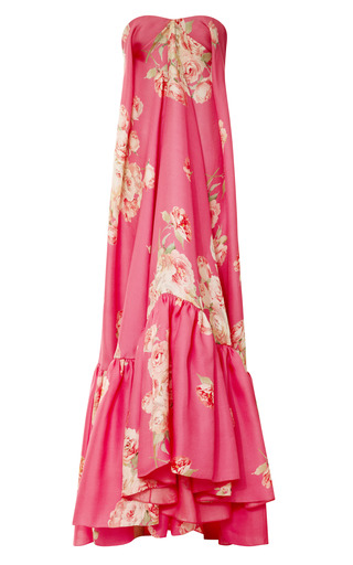 Medium delpozo print strapless floral gown