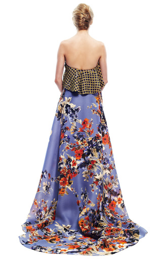 Gingham Bodice Floral Gown by DELPOZO for Preorder on Moda Operandi