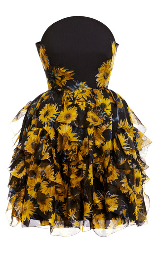 Medium delpozo print strapless sunflower dress