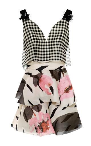 Gingham Bodice Floral Dress by DELPOZO for Preorder on Moda Operandi