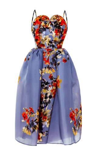 Medium delpozo print floral swirl bodice dress