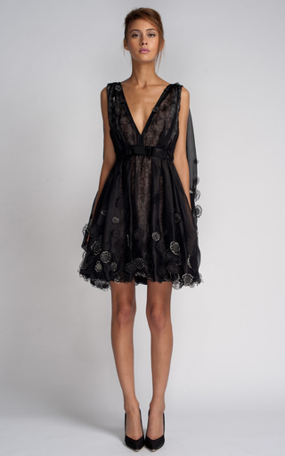 Medium nina ricci black embroidered organza dress