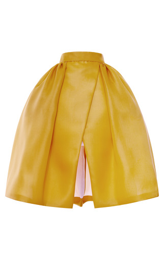 Medium delpozo gold pleated hip wrap skirt