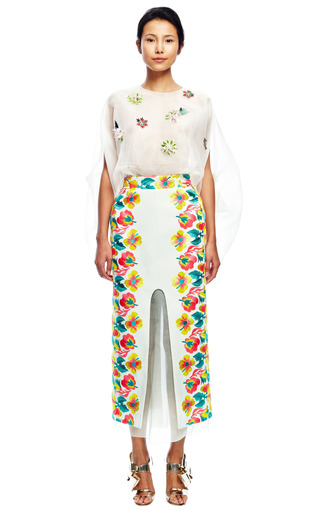 Floral Embroidered Skirt by DELPOZO for Preorder on Moda Operandi