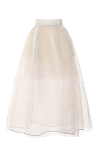 Medium delpozo white sheer full skirt