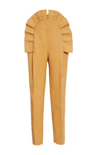 Medium delpozo brown pleated ruffle front pant