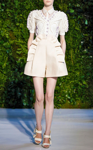 Pleated Ruffle Front Short by DELPOZO for Preorder on Moda Operandi