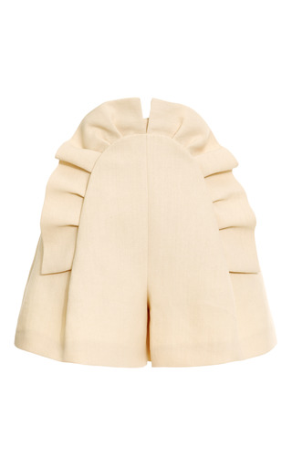 Medium delpozo brown pleated ruffle front short