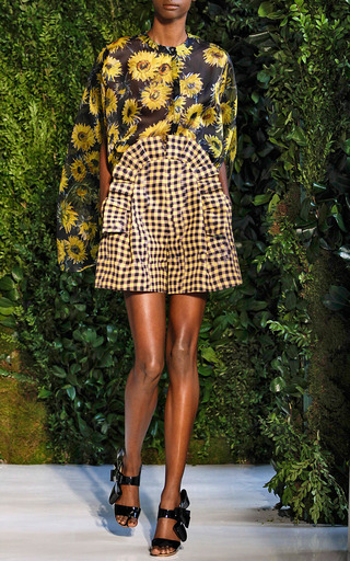 Gingham Pleated Ruffle Front Short by DELPOZO for Preorder on Moda Operandi