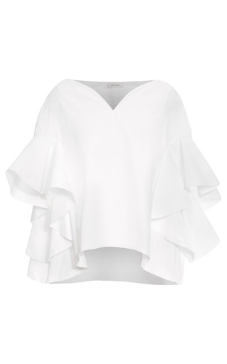Poplin Ruffle Sleeve Top by DELPOZO for Preorder on Moda Operandi