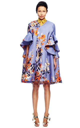 Floral Ruffle Sleeve Coat by DELPOZO for Preorder on Moda Operandi