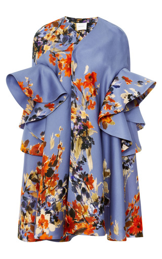 Medium delpozo print floral ruffle sleeve coat