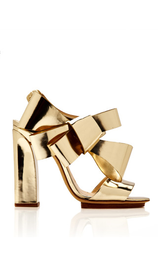 Medium delpozo gold bow slingback sandal 7
