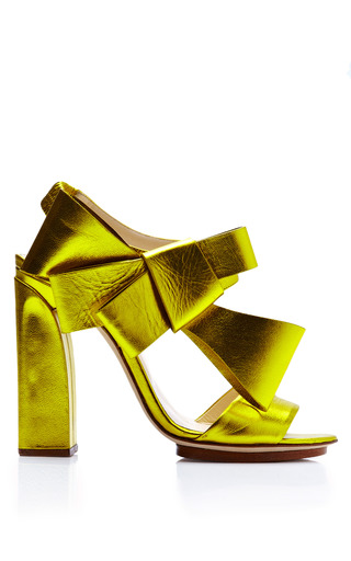 Medium delpozo yellow bow slingback sandal
