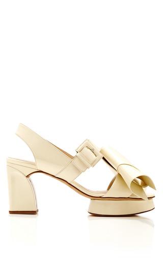 Medium delpozo white bow slingback low heel sandal