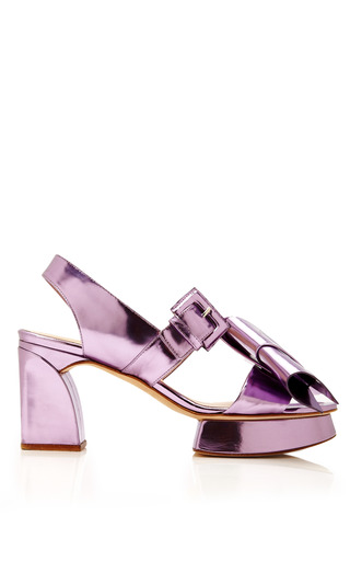 Medium delpozo purple bow slingback low heel sandal 2
