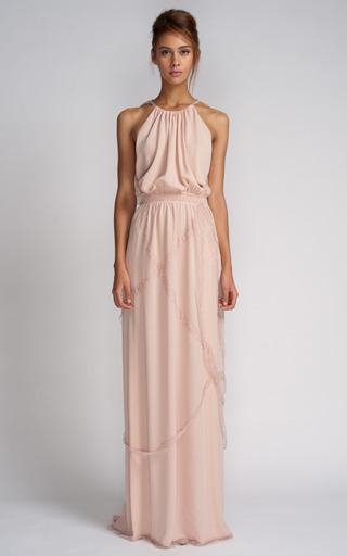 Medium nina ricci pink long silk crepe dress 2