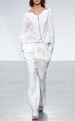 White Cotton Shirting Jeweled V Back Top by THAKOON for Preorder on Moda Operandi
