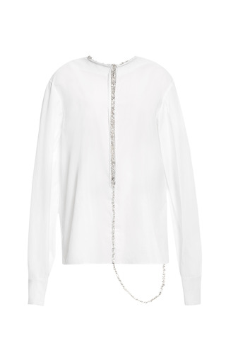 Medium thakoon white white cotton shirting jeweled v back top
