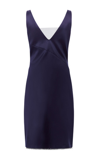 Doubleface Satin Jewel Trim Dress by THAKOON for Preorder on Moda Operandi