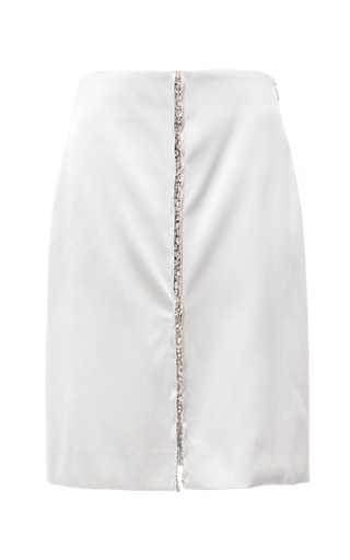 Medium thakoon silver doubleface satin jewel embroidered skirt