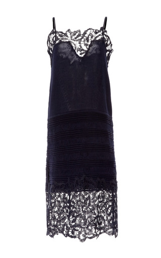 Medium thakoon navy lace embroidered slip dress