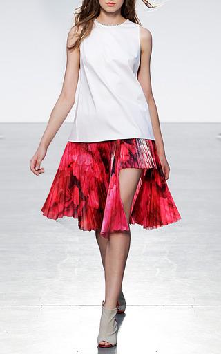 Pleated Cotton Voile Step Hem Skirt by THAKOON for Preorder on Moda Operandi