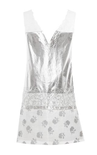 Laminated Cotton Voile Metallic Lace Dress by THAKOON for Preorder on Moda Operandi